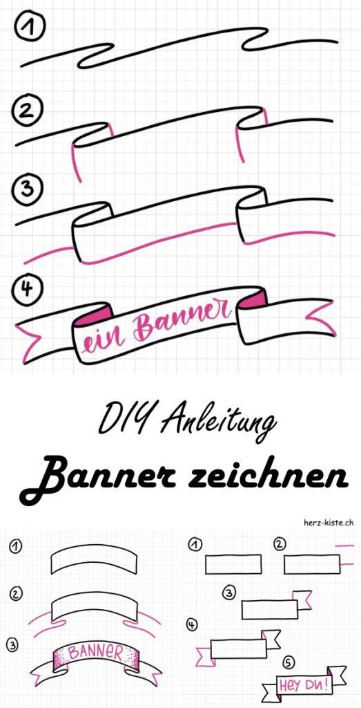 Eine einfache DIY Anleitung wie du einen Banner zeichnen kannst - Schritt für Schritt mit Tipps und Tricks, so dass du verschiedene Banner in deine Letterings einfügen kannst