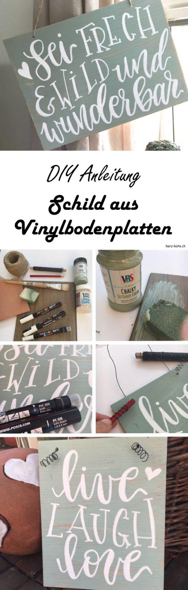 DIY Anleitung für ein Lettering Schild aus Vinylbodenplatten. Erfahre in diesem Beitrag wie du ganz einfach dein eigenes Schild mit Handlettering gestaltest.