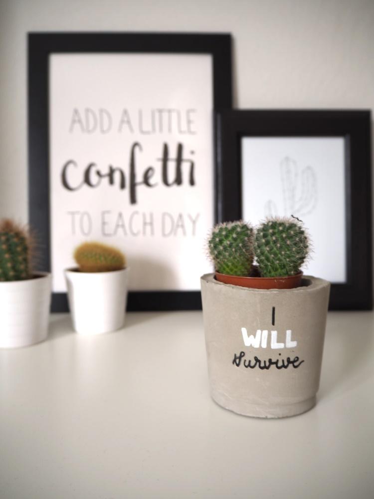I will survive - Lettering auf einem Beton Blumentopf
