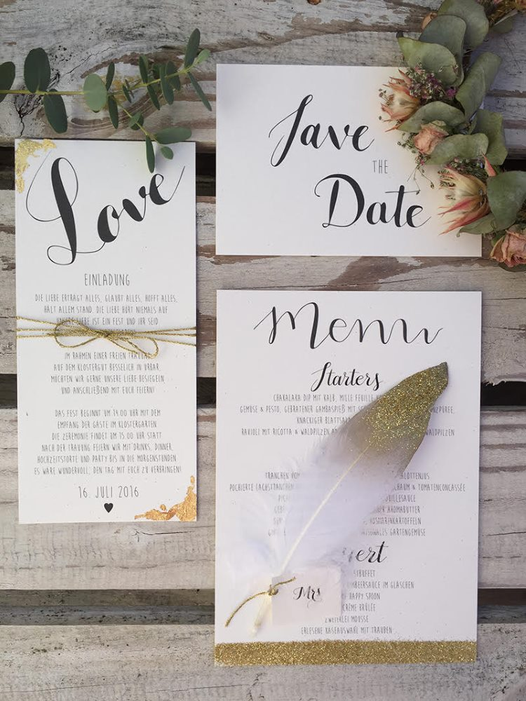 Hochzeitspapeterie mit Handlettering