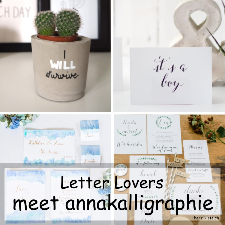 Collage von mehreren Letterings von annakalligraphie