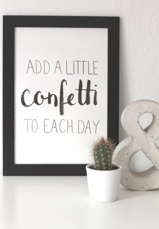Handlettering im Bilderrahmen: add a little confetti to each day