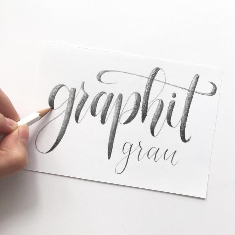 Bleistift Lettering - graphit grau