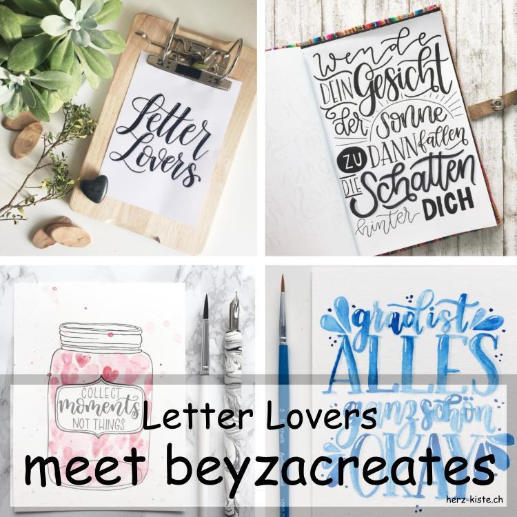 Collage von mehreren Letterings von beyzacreates als Titelbild für den Interviewbeitrag der Letter Lovers