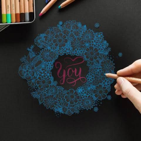you - Handlettering mit blauen Blumen