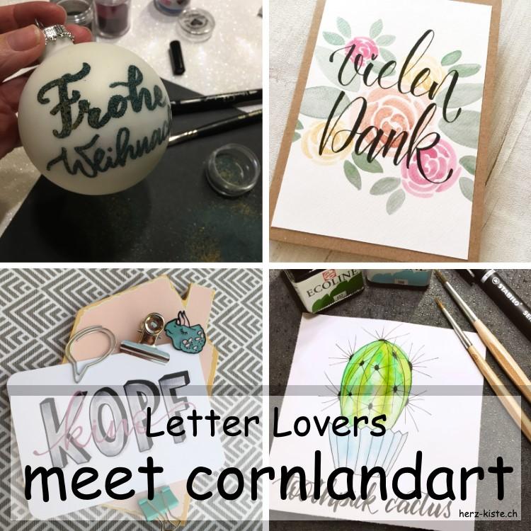 Zusammenstellung verschiedener Letterings von cornlandart als Titelbild fürs Lettering Interview bei den Letter Lovers