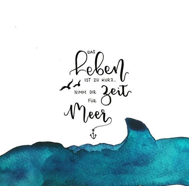 Handlettering mit Watercolor Meer - Das Leben ist zu kurz. Nimm dir Zeit für Meer.