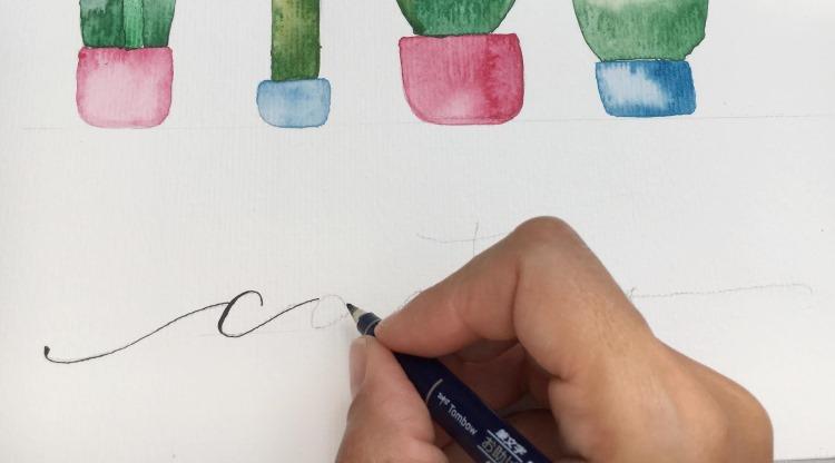 cactus - Handlettering zu watercolor Kakteen