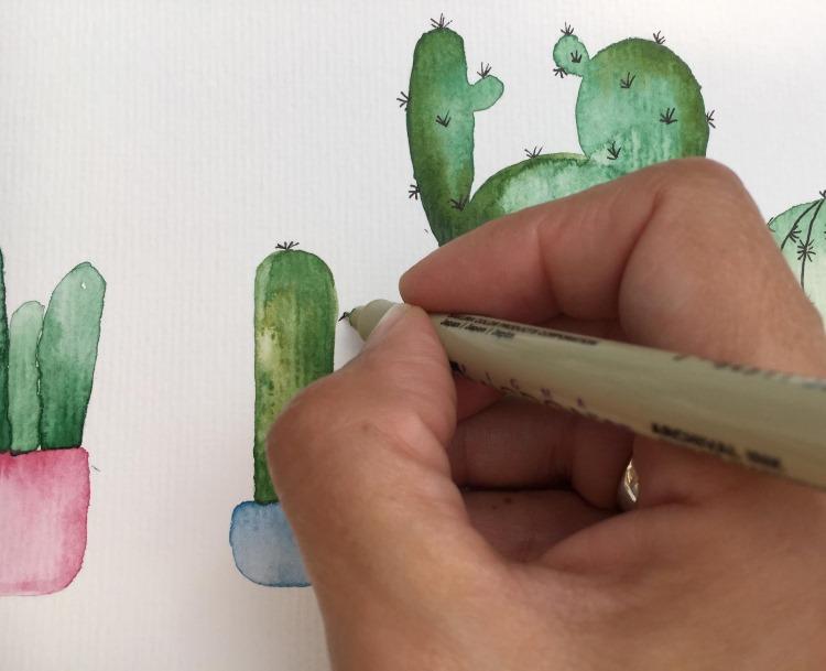 Details bei den Watercolor Kakteen mit Fineliner einzeichnen - Stacheln