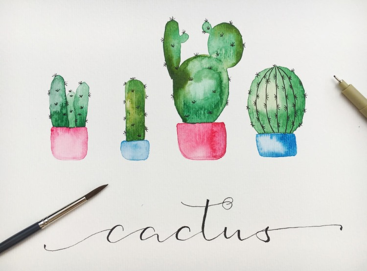 Watercolor Kaktus selber malen inklusive Handlettering