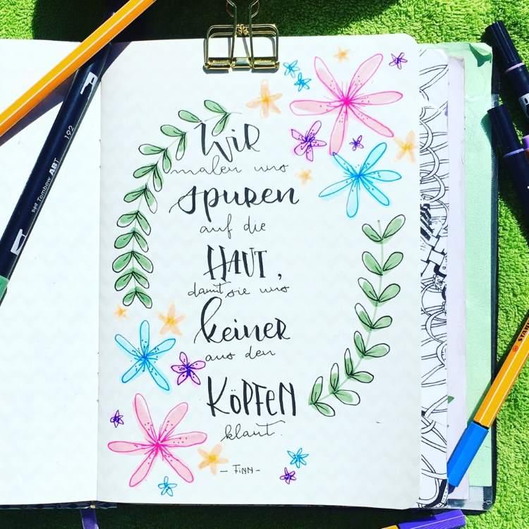motivierender Spruch - Handlettering mit bunten Blumen