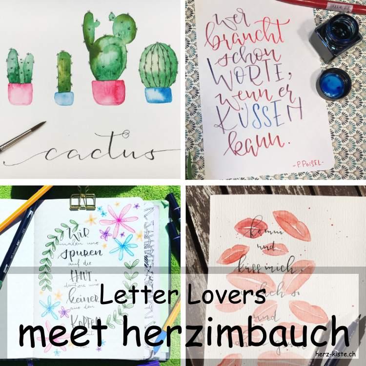 Zusammenstellung verschiedener Letterings von herzimbauch als Titelbild fürs Handlettering Interview