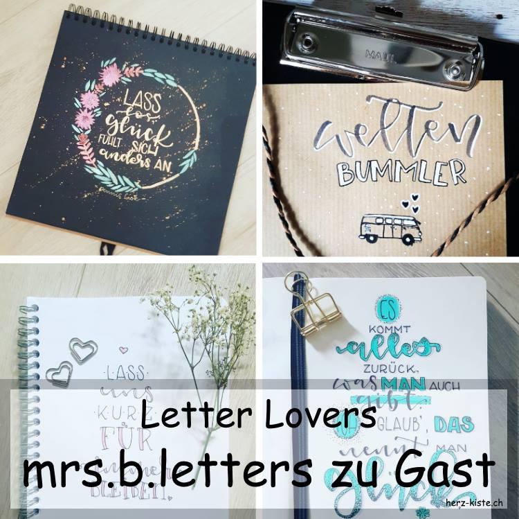 Zusammenstellung verschiedener Letterings von mrs.b.letters als Titelbild fürs Lettering Interview der Letter Lovers