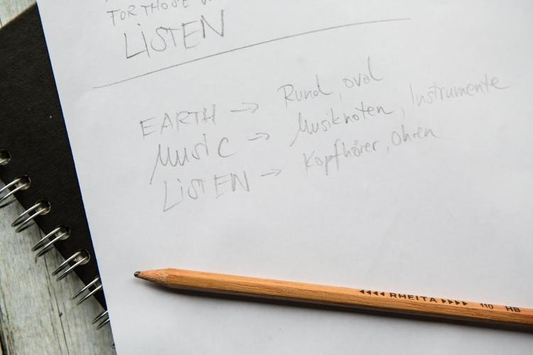 Lettering Skizze - Assoziationen zu verschiedenen Wörtern