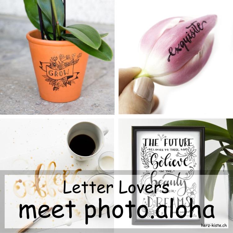 Collage von verschiedenen Letterings von photo.aloha als Titelbild für den Letter Lovers Interview Beitrag
