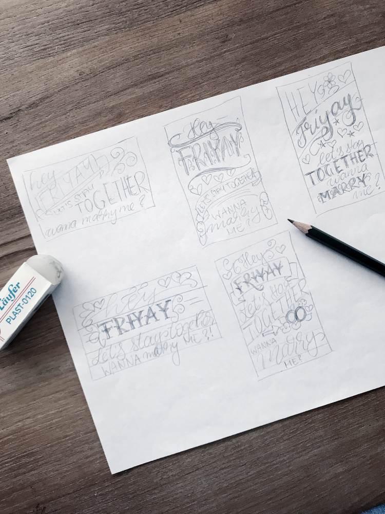 verschiedene Skizzen für eine Lettering Komposition - Layout Handlettering
