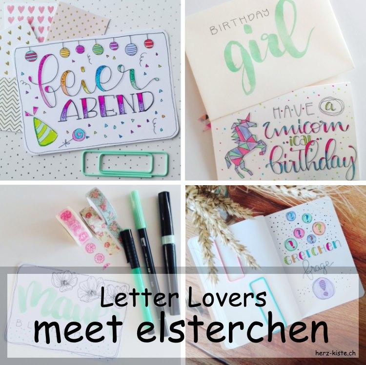 Zusammenstellung verschiedener Handletterings von elsterchen als Titelbild für den Interview Beitrag übers Lettering