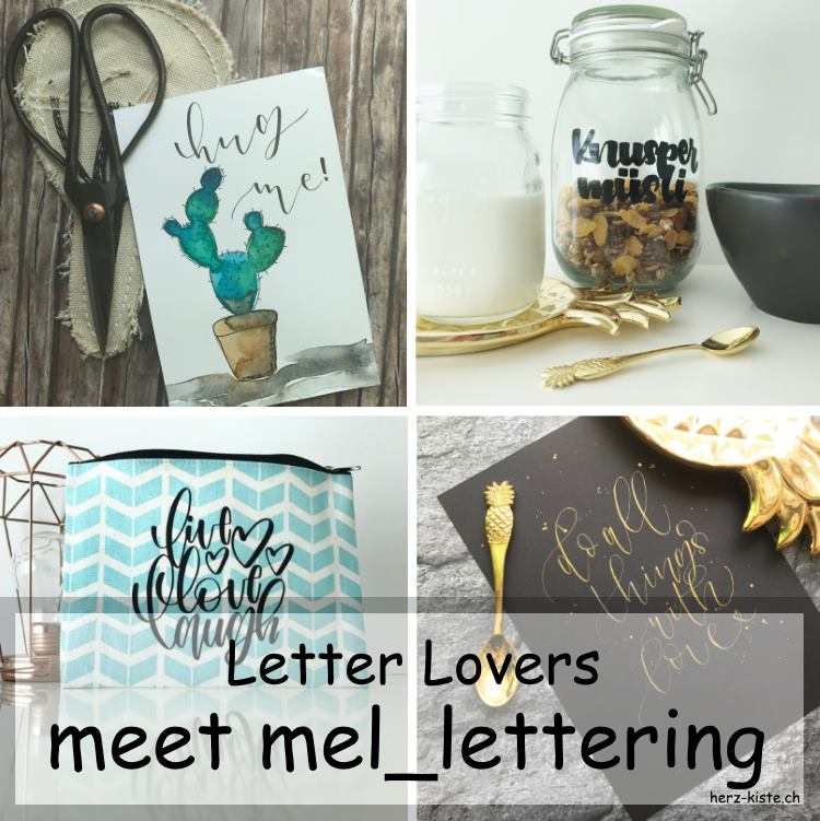 Collage von verschiedenen Letterings von mel_lettering als Titelbild für ein Interview Beitrag
