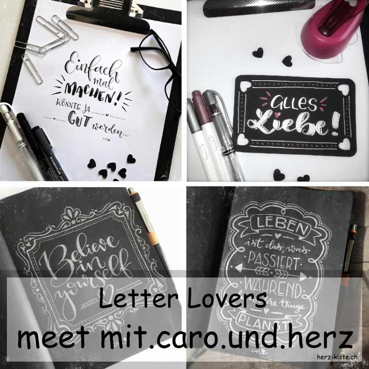 Collage von Letterings von mit.caro.und.herz als Titelbild für das Interview bei den Letter Lovers