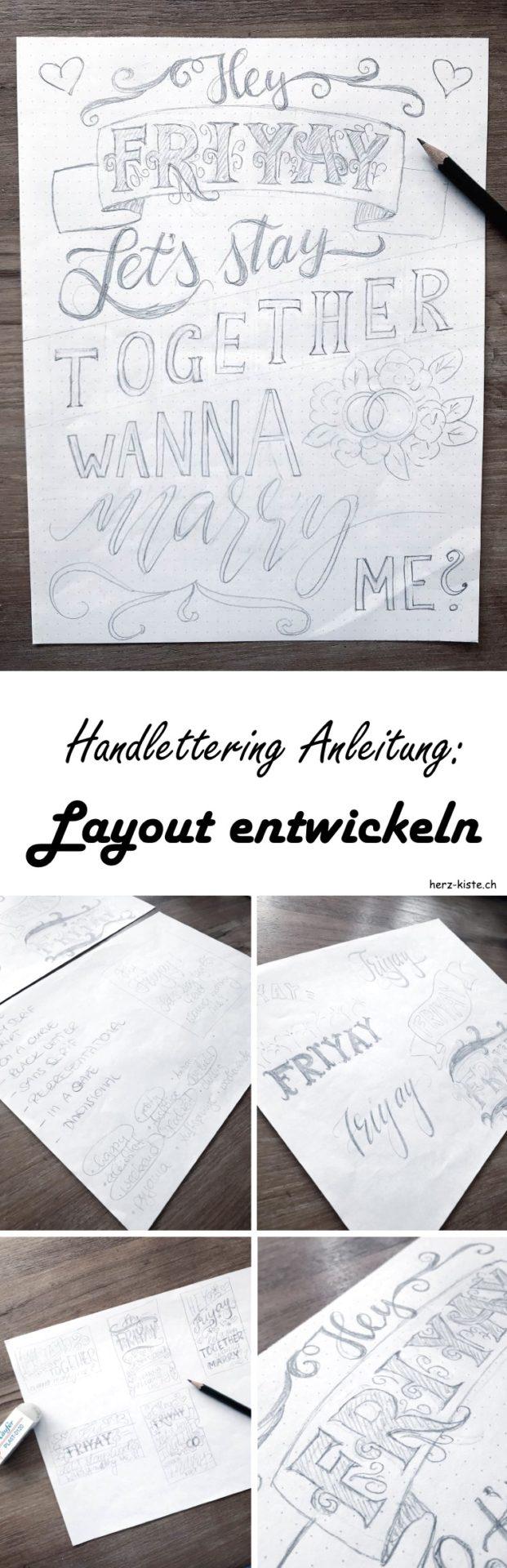 Handlettering Anleitung: So gestaltest und entwickelst du ganz einfach ein layout / eine Komposition für einen Lettering Spruch