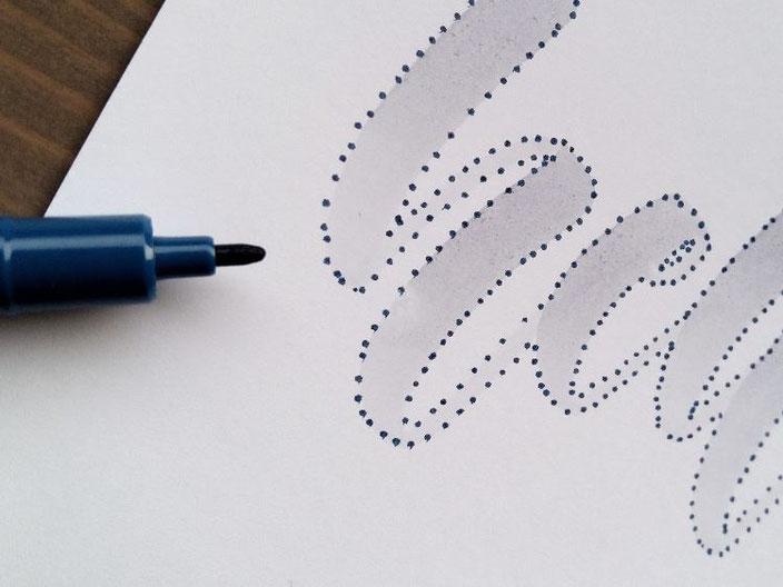 hello - Detailaufnahme Lettering mit Punkten