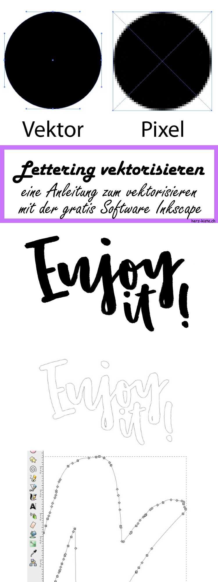 Eine einfache Schritt-für-Schritt Anleitung, wie du ganz einfach dein Lettering vektorisieren kannst dank der gratis Software Inkscape! So stehen dir alle Möglichkeiten mit deinem Handlettering offen! Ob Stempel, 3D-Druck, Logos oder sonstige Verwendungen