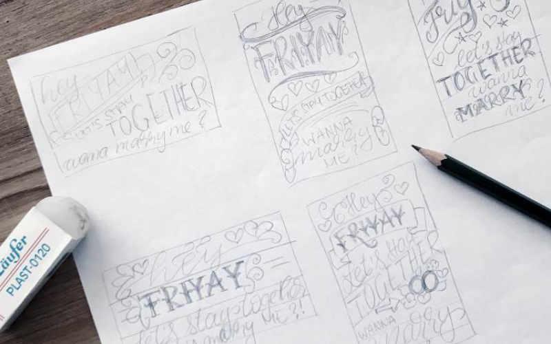 komplexes Lettering Layout gestalten - verschiedene kleine Skizzen