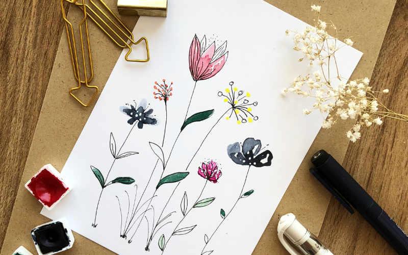 einfache und wirkungsvolle Aquarellblumen - super als Karte oder Dekoration für ein Lettering