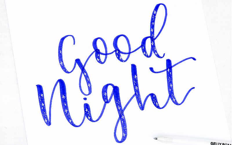 good night - Handlettering mit Sternchen Effekt