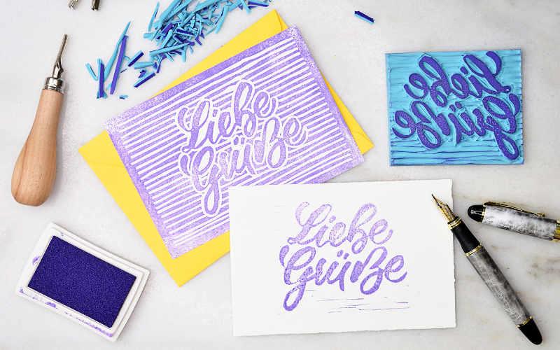 Liebe Grüsse - eine einfache Anleitung um dein Lettering zu einem Stempel zu schnitzen
