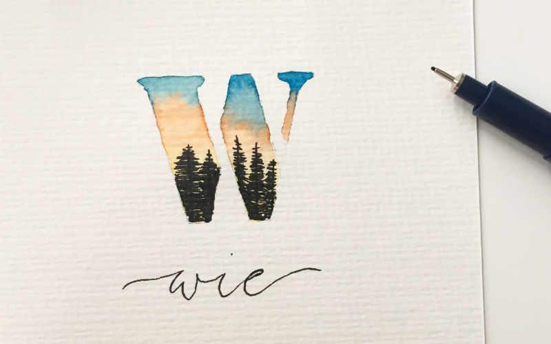 W wie Wald - Illustration in einem Buchstaben