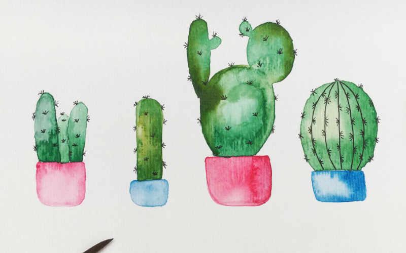 Watercolor Kaktus malen - einfache Schritt für Schritt Anleitung