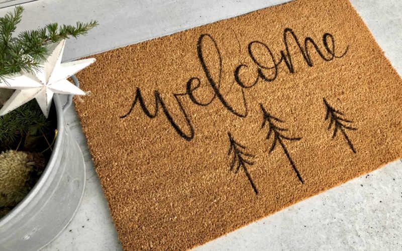 Welcome - eine Fussmatte mit einem selbstgemachten Lettering