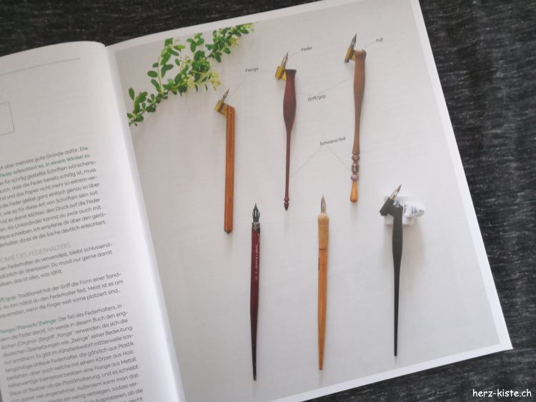 Einblick ins Buch Moderne Kalligrafie von A bis Z - verschiedene Federhalter