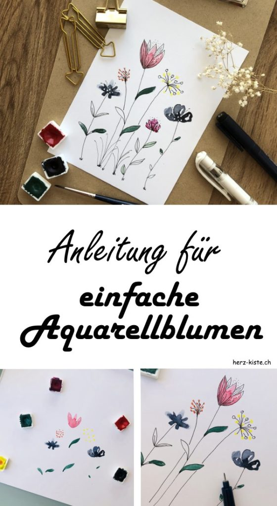 so einfach kannst du Aquarellblumen selber machen - diese Schritt für Schritt Anleitung zeigt dir, wie du vorgehen musst, um easy Blumen mit Aquarellfarben zu malen