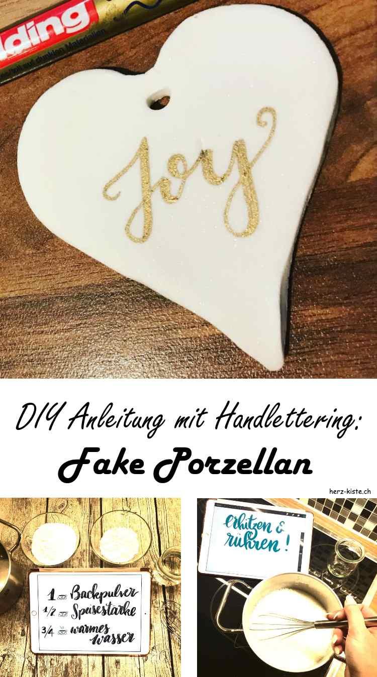 DIY Anleitung mit Handlettering - so einfach kannst du selber Fake Porzellan machen und darauf lettern