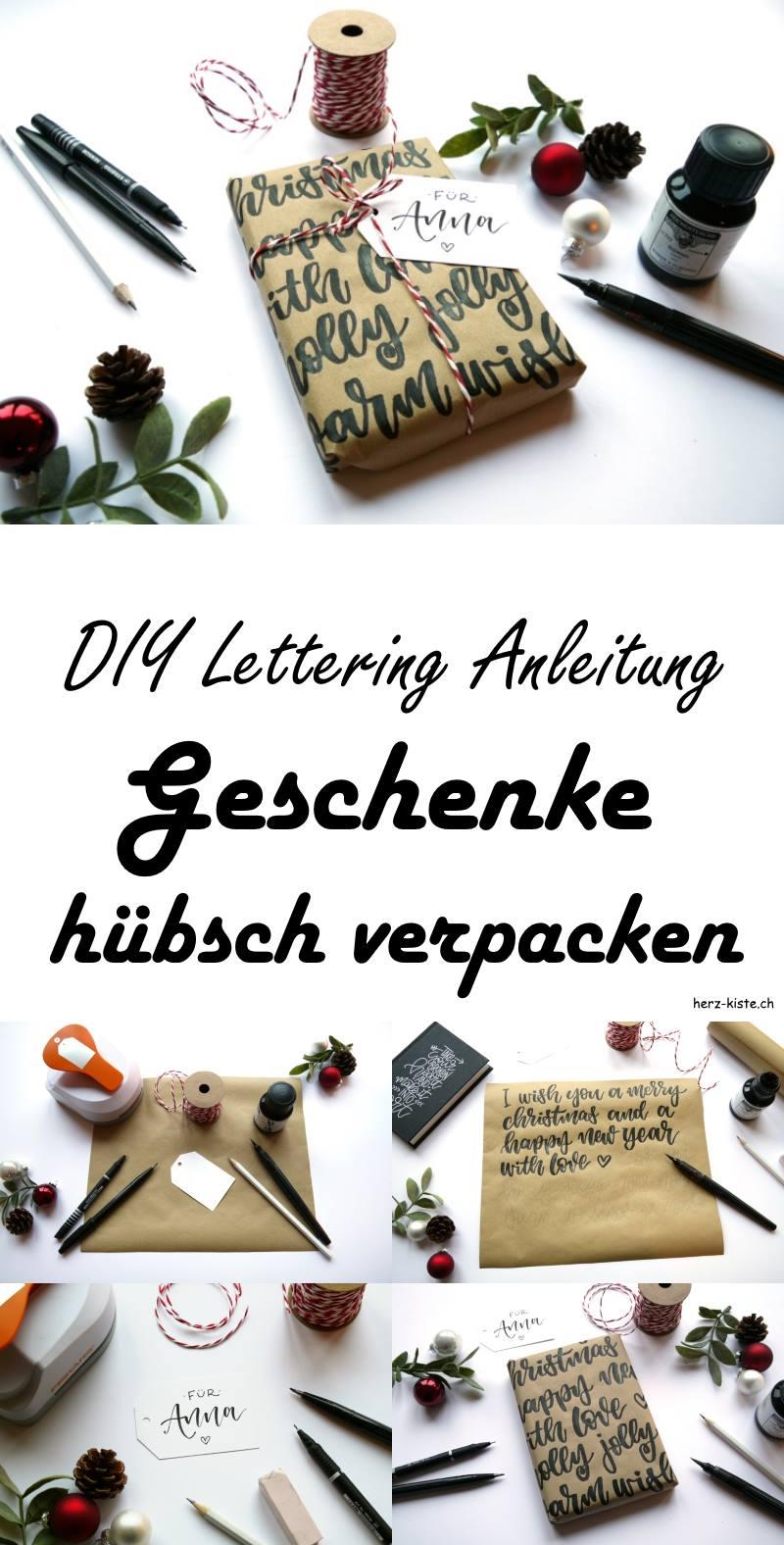 DIY Lettering: Eine Anleitung, wie du deine Geschenke mit Handlettering hübsch verpacken kannst. Lettering Idee für Geschenke.