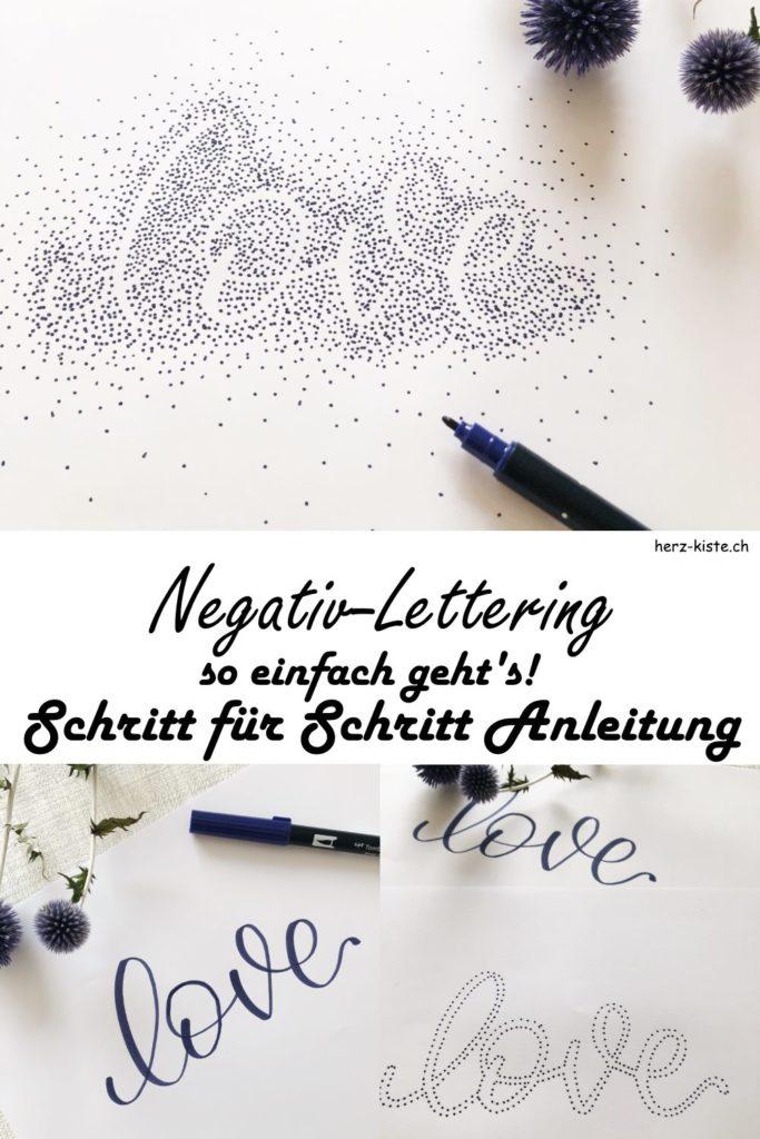 Negativlettering mit Punkten - eine einfache Schritt für Schritt Anleitung wie du nur aus Punkten ein Lettering mit einem tollen Effekt gestalten kannst