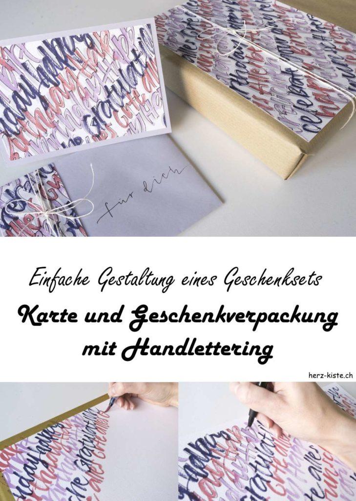 DIY Anleitung: so kannst du ganz einfach ein Geschenkset selber gestalten mit Handlettering - Karte und Geschenkverpackung sind einzigartig und persönlich!