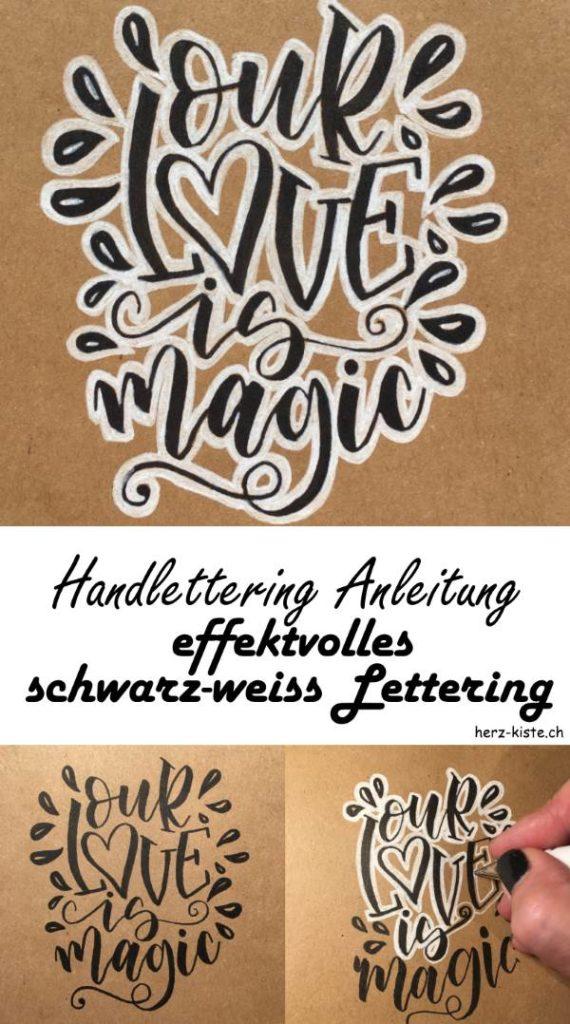 Handlettering Anleitung - Schritt für Schritt zu einem effektvollen schwarz-weiss Lettering