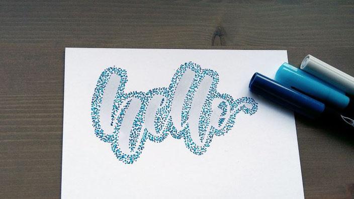 hello - Punkte Lettering mit Anleitung für ein spezielles Handlettering mit vielen Punkten
