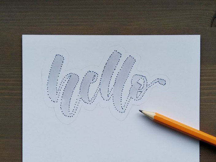 hello - Punktelettering in Bearbeitung
