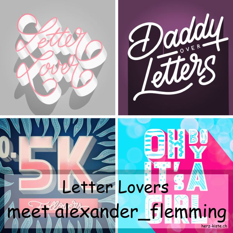 alexander_flemming zu Gast im Lettering Interview bei den Letter Lovers - Titelbild mit verschiedenen Letterings