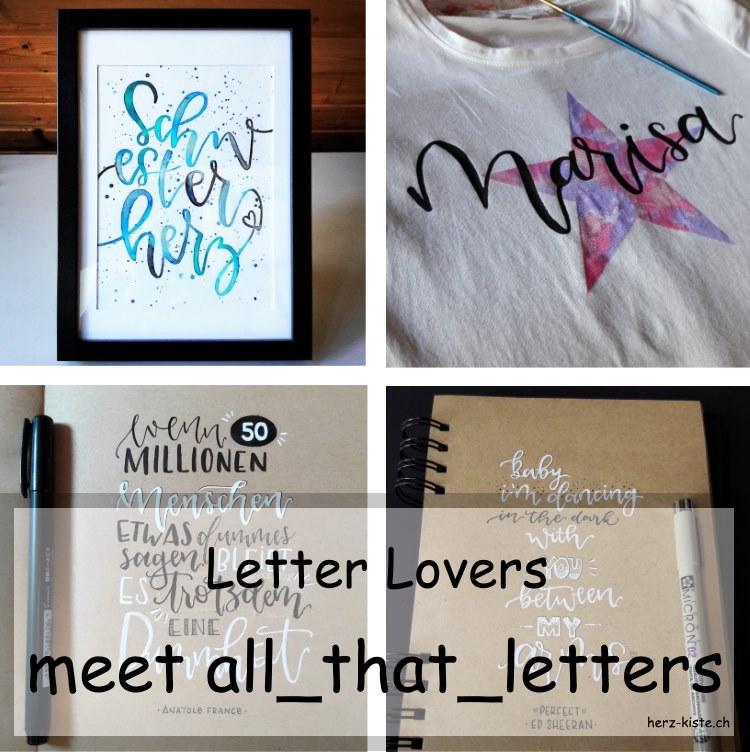 Zusammenstellung von verschiedenen Letterings von all_that_letters als Titelbild für den Interview Beitrag übers Lettering