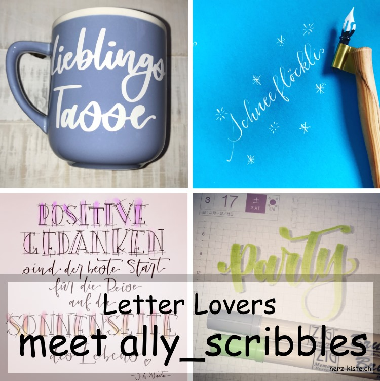 Lettering Interview mit ally_scribbles - Titelbild mit verschiedenen Handletterings