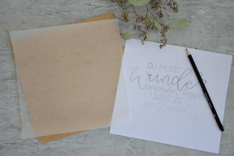Skizze eines Letterings für eine selbstgemachte Lightbox