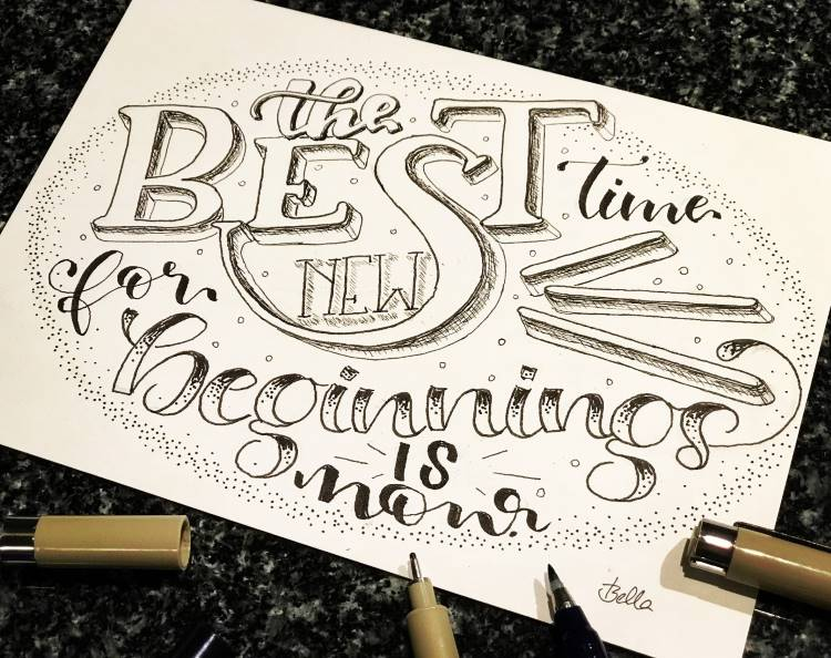 Handlettering Spruch: the best time for new beginnings is now