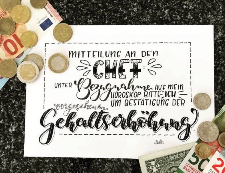 Handlettering Spruch mit Geld: Horoskop und Gehaltserhöhung