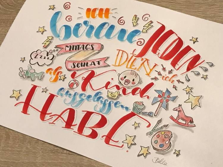 buntes Handlettering mit Sketchnotes: Ich bereue jeden Mittagsschlaf den ich als Kind ausgelassen habe