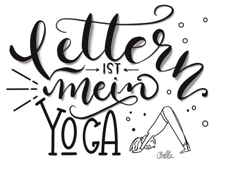 Handlettering Spruch: Letttern ist mein Yoga